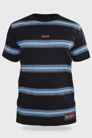 Camiseta Prison ''Striped retro blue wave''