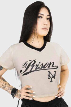 Camiseta Cropped Prison ''NY Off- White''